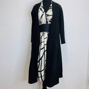LULAROE LONG BLACK CARDIGAN XS